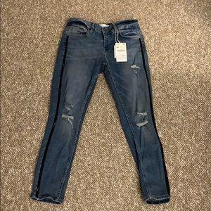 Zara NWT distressed black beaded jeans